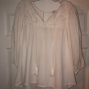 Ladies white peasant blouse Large